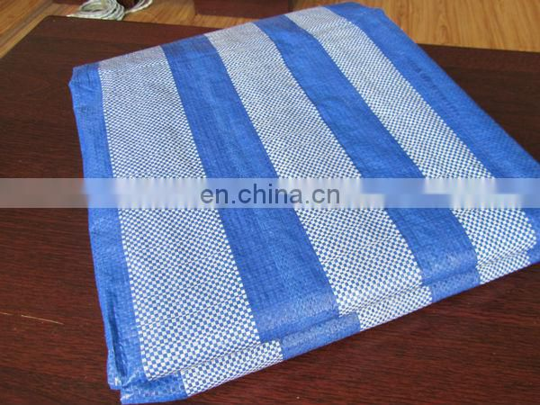 Blue/White Stripe Waterproof Plastic Tarpaulin Sheet