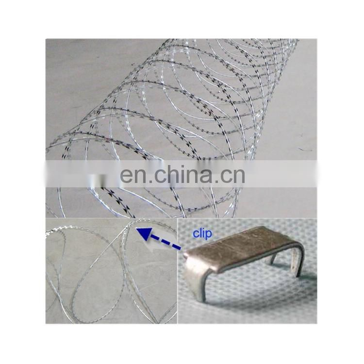 Chain link fence top barbed wire hot diped galvanized razor blade wire