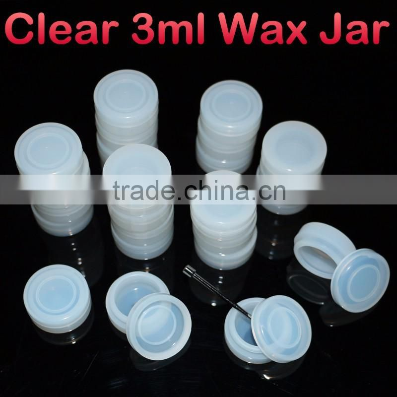 Transparent 3ml silicon oil jars non stick essential oil bho container for wax vaporizer pen