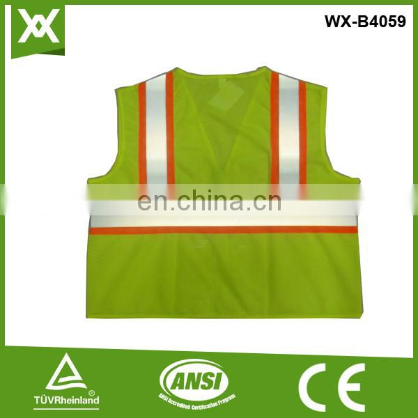 factory polyester fabric mesh /solid knit tape reflective warning vis safety vest