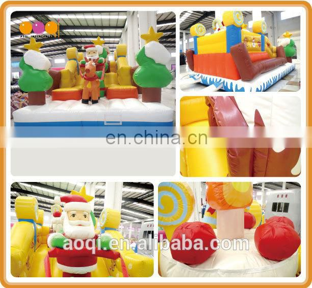 AOQI comercial used Christmas toy Santa Clause inflatable bounce kid bouncers for sale