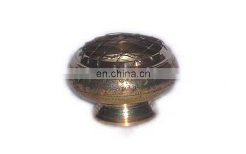 BRASS CHARCOAL BURNER ROSE WOOD BASE
