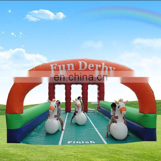 High quality 3 Lane inflatable horse racing,Outdoor sport games inflatable fun derby for kids