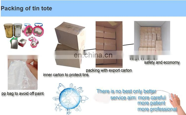 Hot sale CMYK printing tin tote for lunch packaging China manufaturer