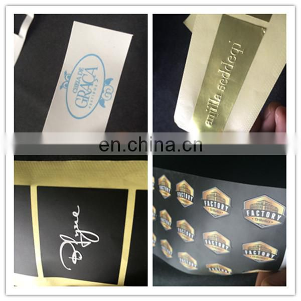 New ! Luxury High Quality Beautiful Custom Rectangle Embossing Golden Paper Sticker