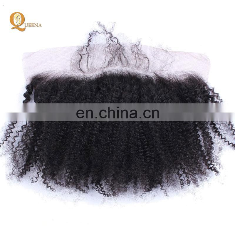 By express top quality 13x4 natural hairlines brazilian afro kinky curl human hair lace frontal dropshipping