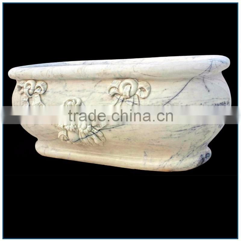 Girlish Freestanding Oval White Marble Bathtub with Bowknot