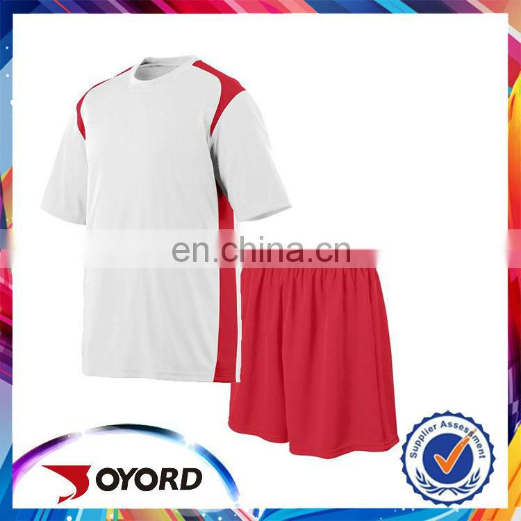 Wholesale adults fashional red white soccer jersey