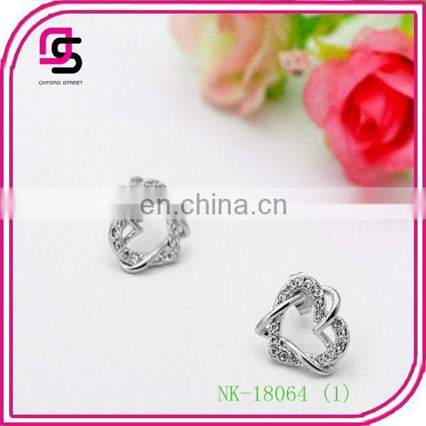 Wholesale Fashionable Diamante Double-heart Jewelry set