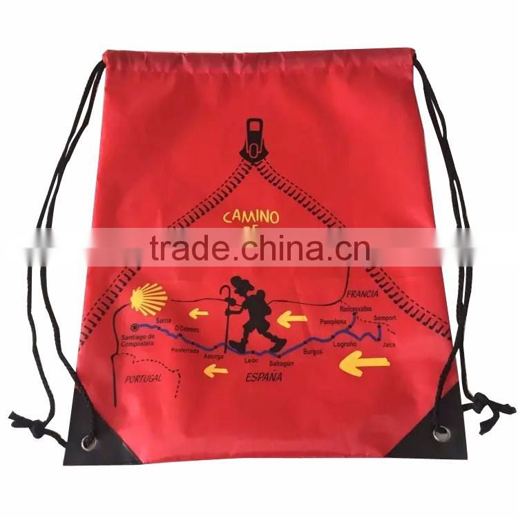 2016 Cheap polyester drawstring bag, nylon drawstring backpack, promotional polyester backpack bag
