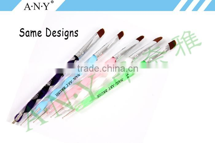 ANY Professional Double Use Acrylic Handle Art Nail Wholesale Nail Art Gel Pen Smile Brush And Dotting Tool