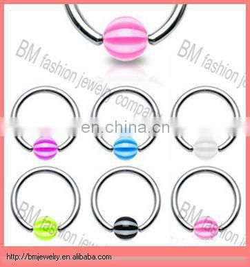 Different size titanium black ball closure ring curved barbell ear piecings ring body piercing jewelry
