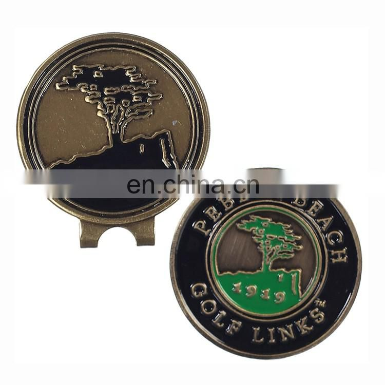 Unique and classic design magnetic golf hat clip and ball marker with custom logo