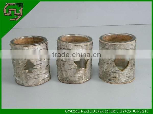 natural craft birch bark glass candle holder