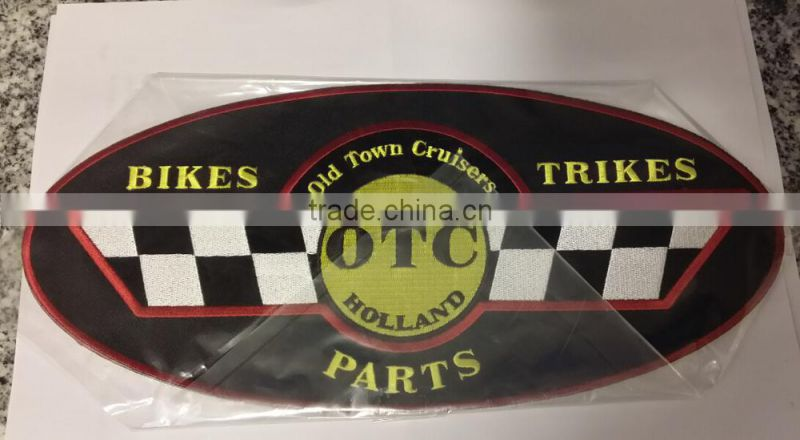 cheap custom fabric &wool biker embroidery patches with self-adhesive ( white hot cut border )