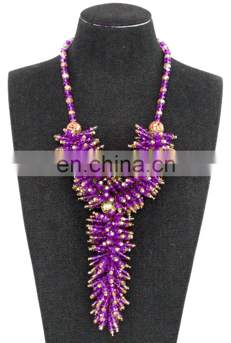 Shiny handmade necklace for wedding african coral bead jewelry Fashion long chain designs necklace