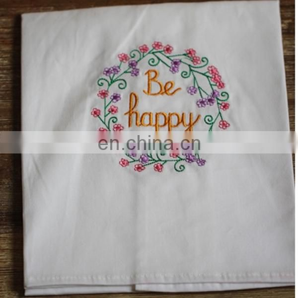 100% cotton embroidery plain white cotton tea towel