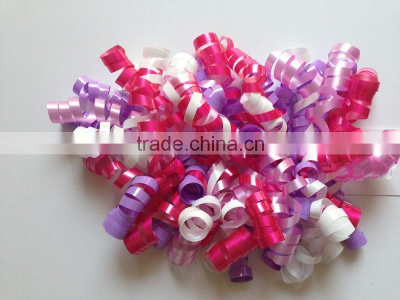 Wholesale High Quality Holiday Decoration Girls Curly Ribbon Bows IN Mixed Color with Clips