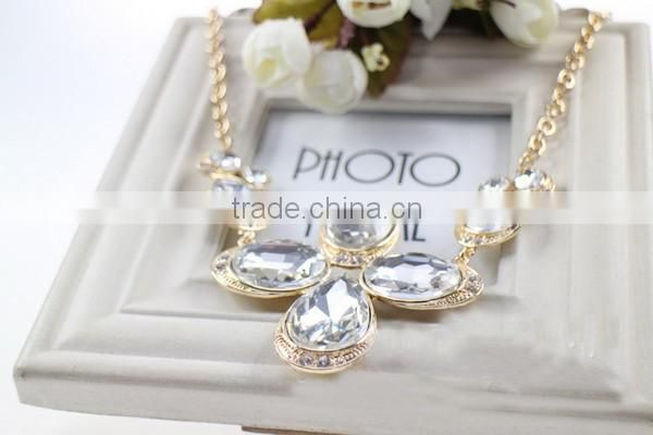 Gold filled Clear Diamond Glass Necklaces