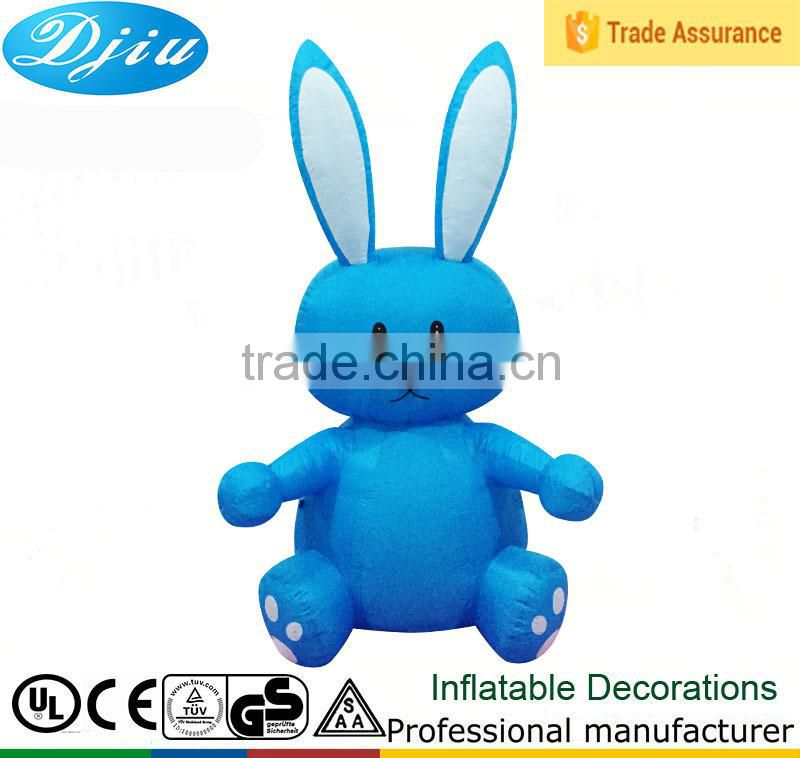 Easter Inflatable Rabbit Sitting on a Motorbike Outdoor Light up Decoration