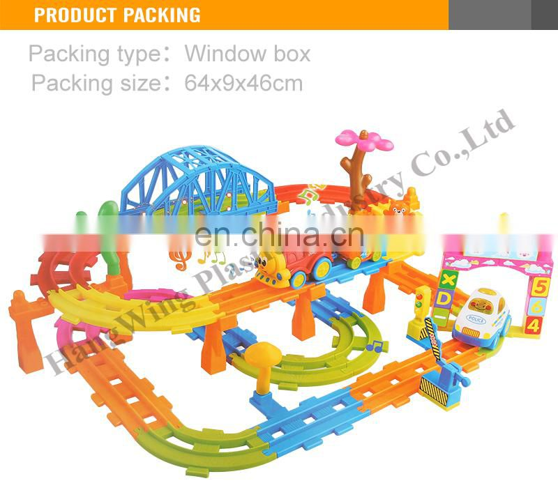 Most Popular B/O Cartoon Car Railway set light and music toy car track