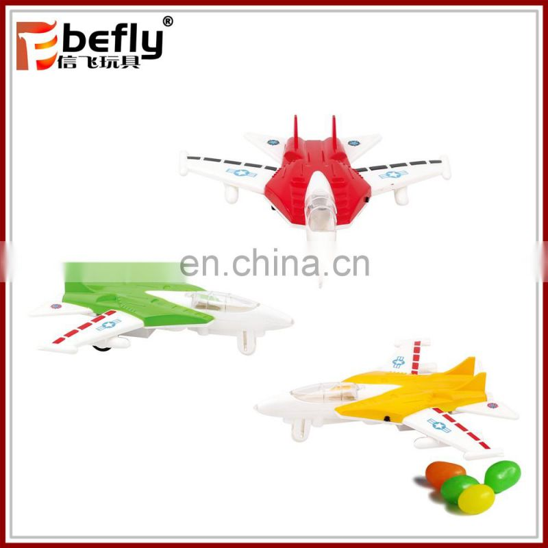 China manufacturer plastic colorful plane toy candy with sound