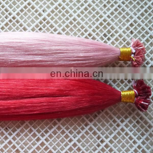 Alibaba China factory human hair extension tangle&shedding free light pink hair extensions