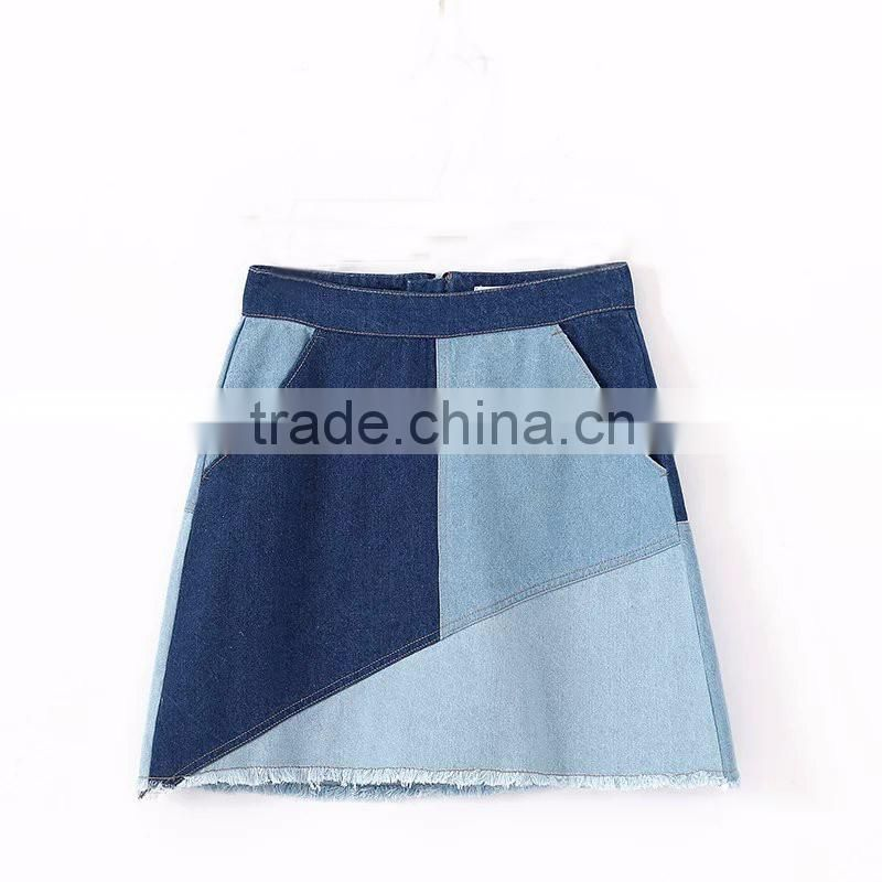 OEM service girls fashion women skinny multi-color A line denim jeans short skirts