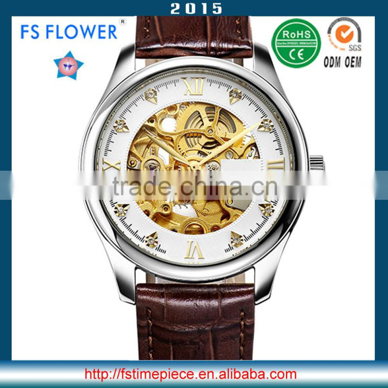 FS FLOWER - Automatic Watches Men Classical Skeleton Dial Genuine Leather Strap