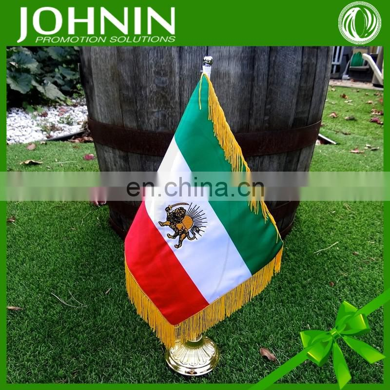 polyester cheap customized country desk flag of iran with tassels