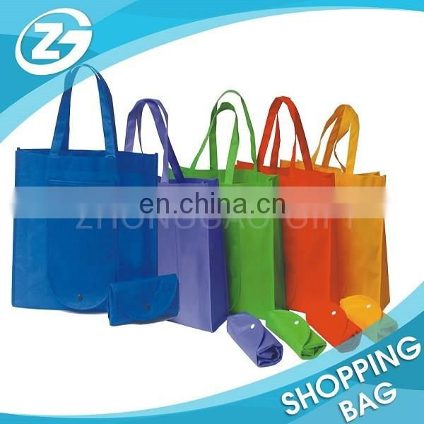 Logo Printed Solid Color Non Woven Reusable Shopping Bags Foldable