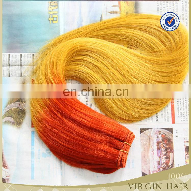 Grade 7A Human remy virgin hair two tone ombre mix colored blonde hair weave