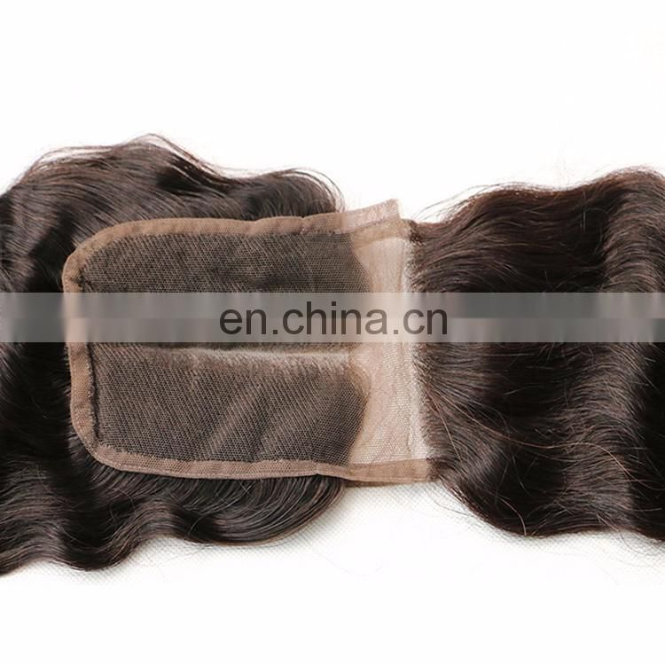 Virgin Human Hair Accesories Curly Style Natural Eurasian Hair 4X4 Lace Size Good Quality Lace Closure Glue