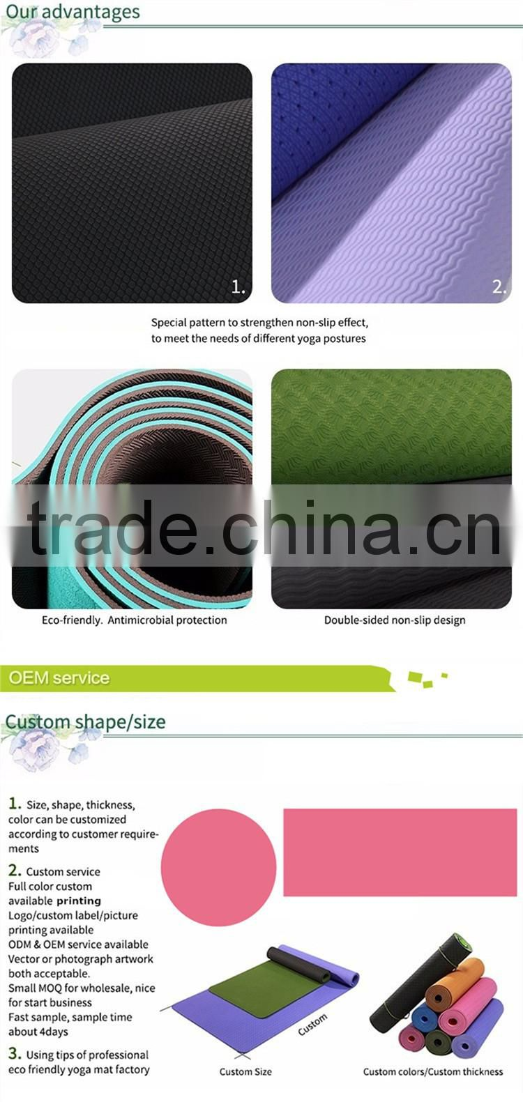 Anti-Tear Comfort Extra Thick Antimicrobial Absorbent Machine Washable pvc yoga mats