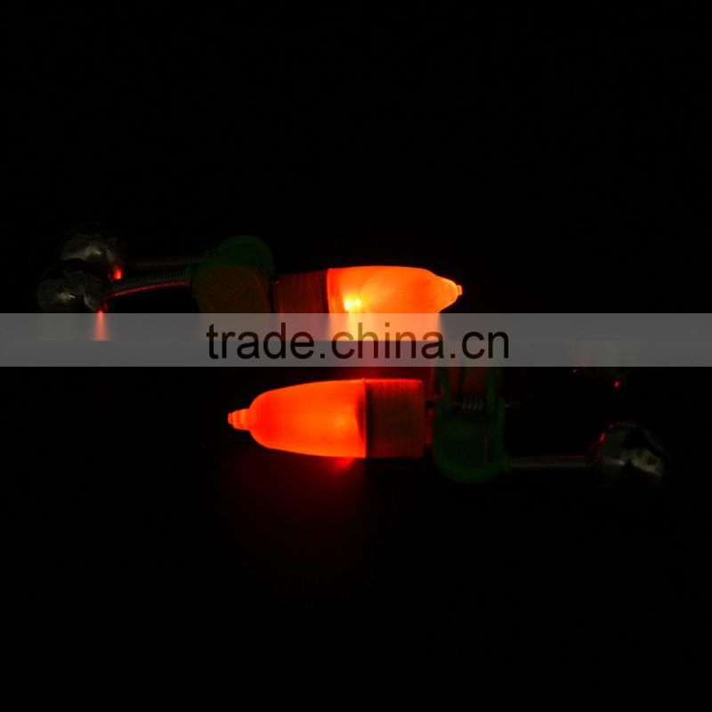 50Pcs Night Fishing Rod Tip Red LED Light Twin Bells Ring Fish Bait Alarm