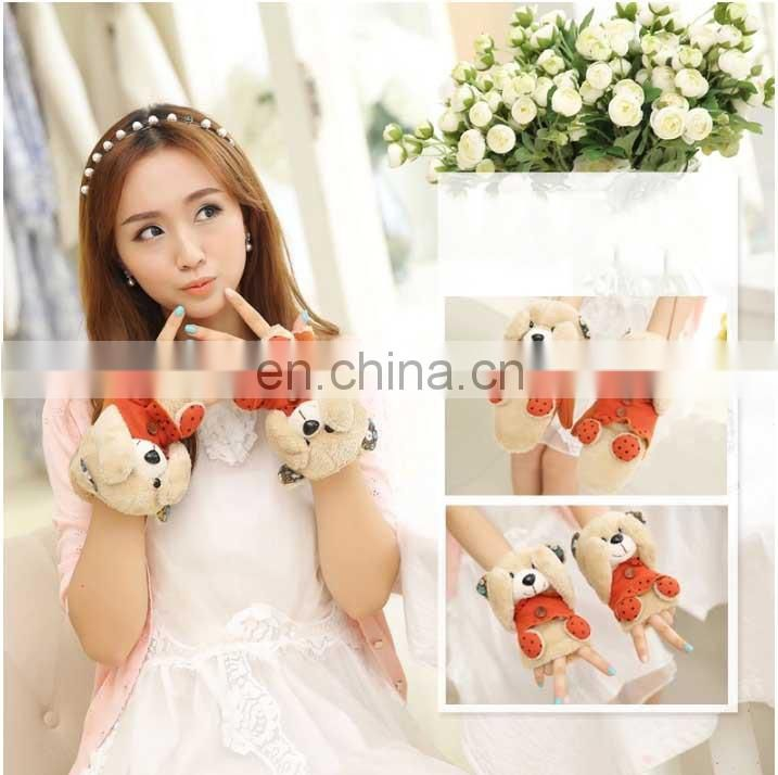 wholesale custom fashion girls jacquard pretty cartoon animal gloves