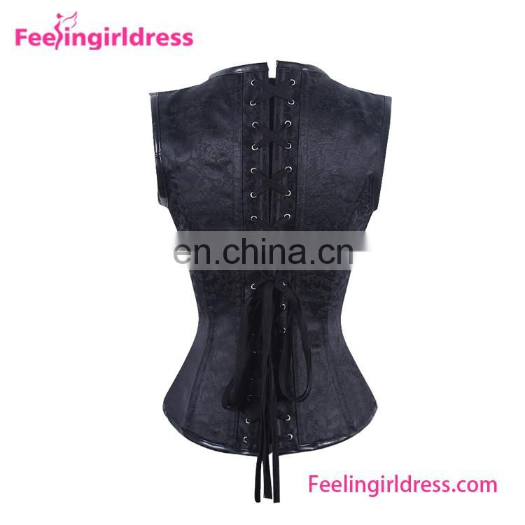Hot Gothic Black Jacquard 12 Steel Boned Sexy Steampunk Corset