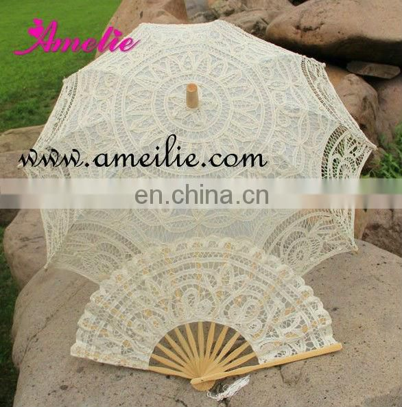 A-Fan070(27cm) Battenburg White Color Decoration For Wedding Lace Spanish Fan