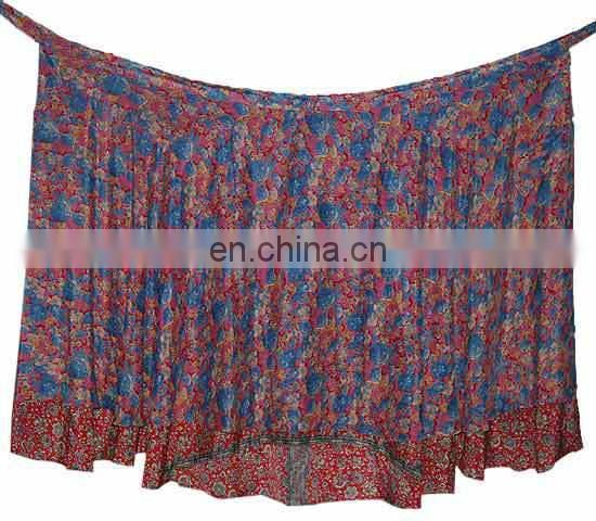 Vintage Silk Wrap Skirt Double Layer Reversible Beach Skirts