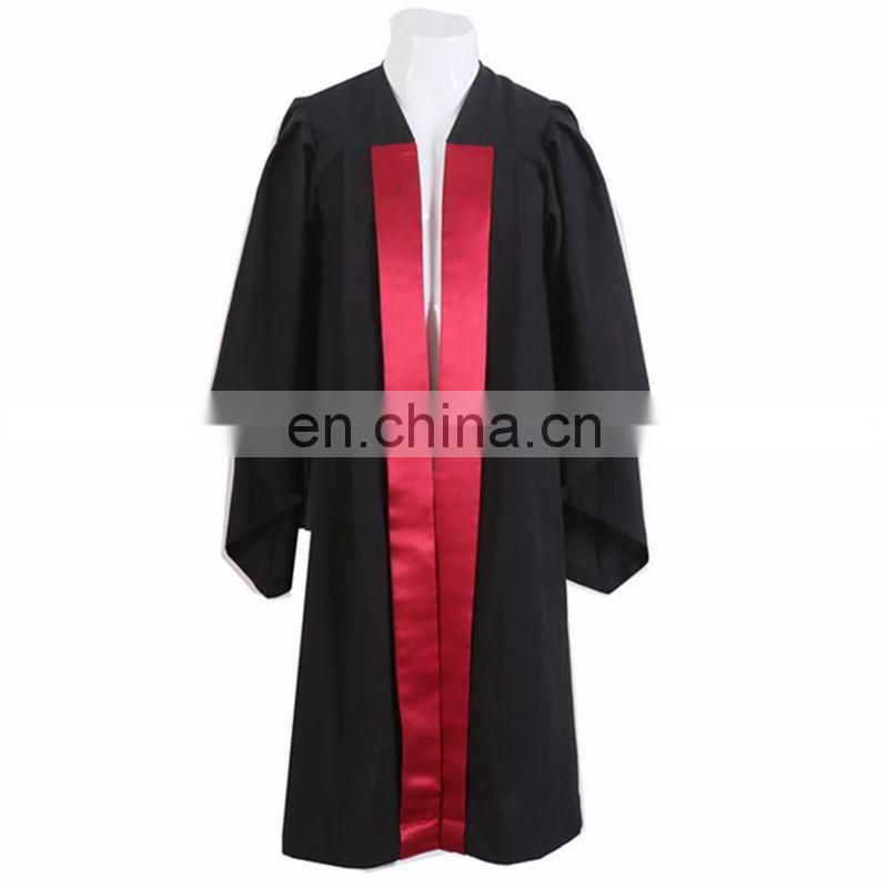 Black graduation master gown with red satin in front