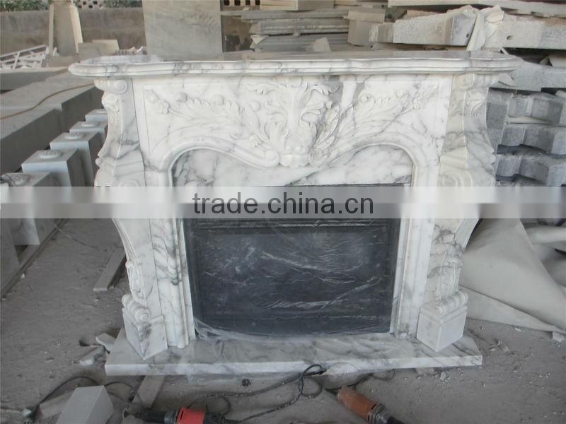 Italian Arabescato White Marble Fireplace Mantel Surrounding With Remote Control Insert