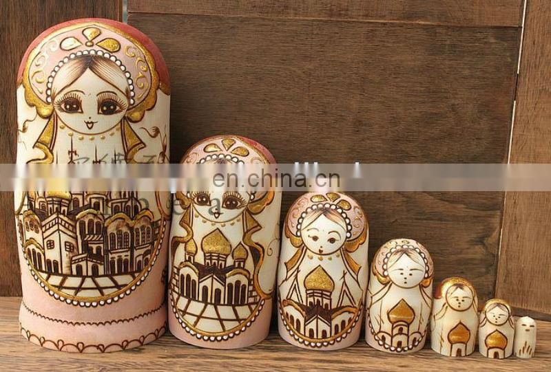 Antique Russian Nesting Dolls Family Hand Made Babushka Matryoshka Made in CHINA