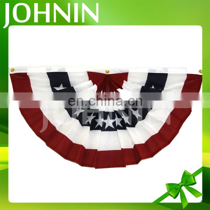 OEM Silk Screen Printing Pleated Fan American Bunting Flag For Fence Decoration