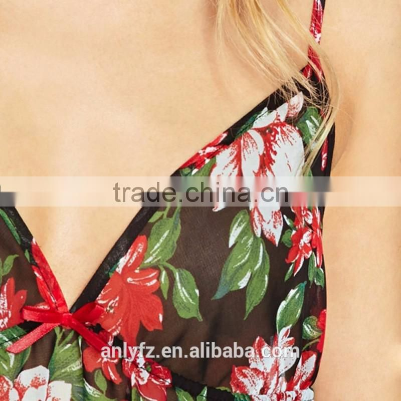 nighties deep v fancy floral chiffon brace short dress trimmed with agaric laces
