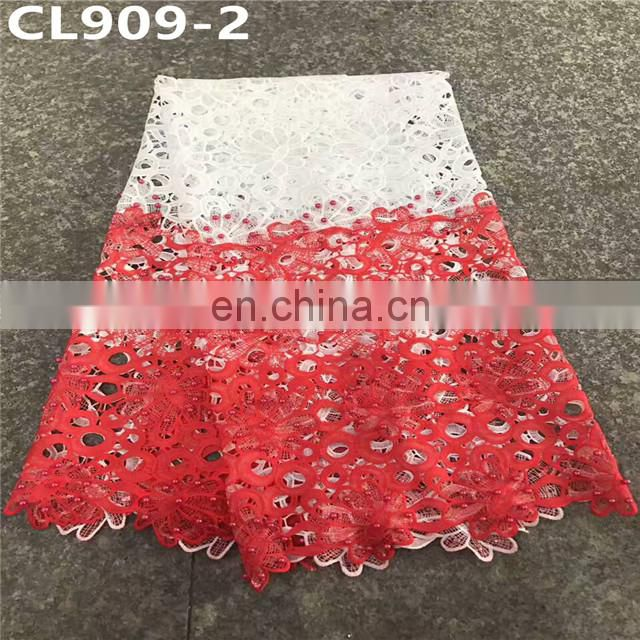 Newest african nigeria lace fabric ,cotton guipure cord lace fabric for party .