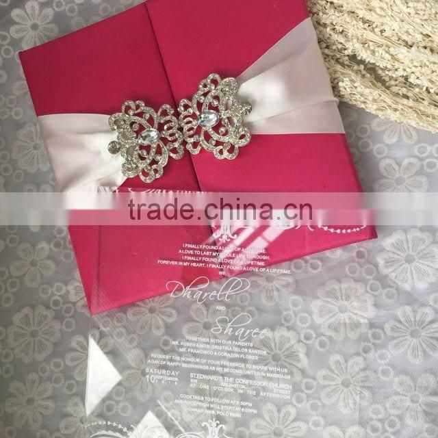 Luxurious & elegant rose silk folio clear acrylic wedding invitations with white ribbons & brooch