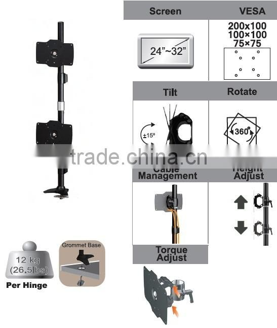 Aluminum Double GROMMET MOUNT LCD monitor arm