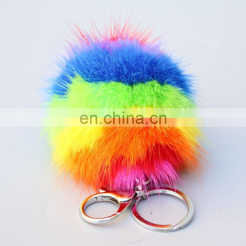 Rainbow dimensional mink fur pom pom key ring for bag/metal clasp