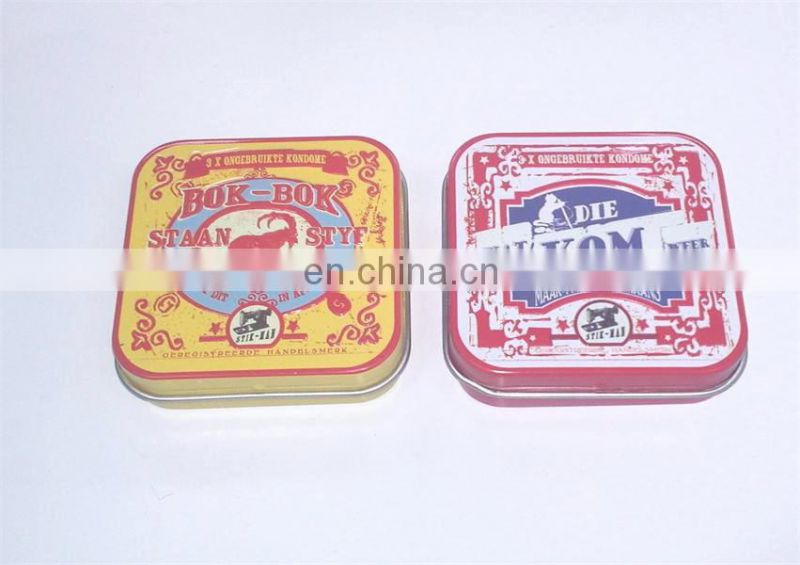 Hot sale small condom tins with hinge
