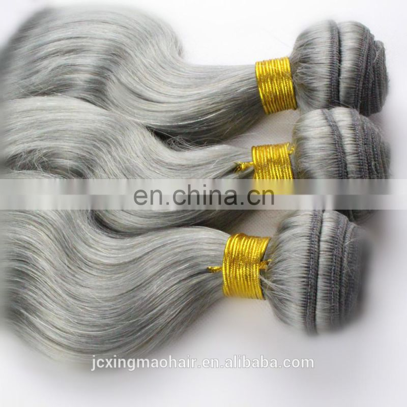 No tangle no shedding silver gray body wave hair bundles 100% human hair extension weave